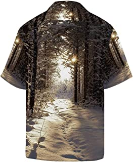 Winter Comfortable Relaxed Short Sleeve Shirt with Lapel Collar,Christmas Season with Snow and Frozen Forest Sun Rays Very Cold Woods Scenery Image for Men,L