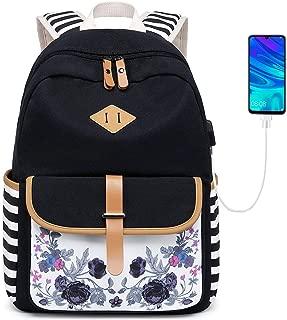 Goldwheat Canvas Backpack School Bag for Teen Girls Bookbag Lightweight Laptop Backpack Travel Daypack
