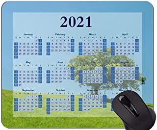 2021 Calendar Mouse Pad,Hill Lonely Tree Green Mouse Pads