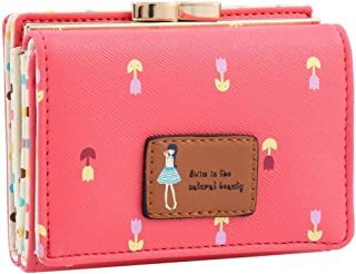 MOCA Short Handy Womens Wallet Small Clutch Wallet Hand Purse for Womens Women's Girls Ladies Mini Wallet Clutch Purse 3 Folds Buckle Money Package Card Holder Wallet for Women