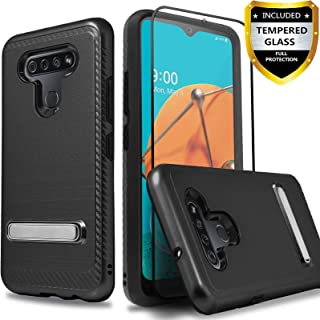 Circlemalls - LG K51 Phone Case, LG Reflect (LM-K500) Case, [NOT FIT LG K50] with [Tempered Glass Protector Included], Build in Kickstand Durable Hybrid Drop Protection Armor Protective Cover - Black