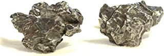 METEORITE Cufflinks, Sterling Silver & Campo Del Cielo Meteorite Fragments