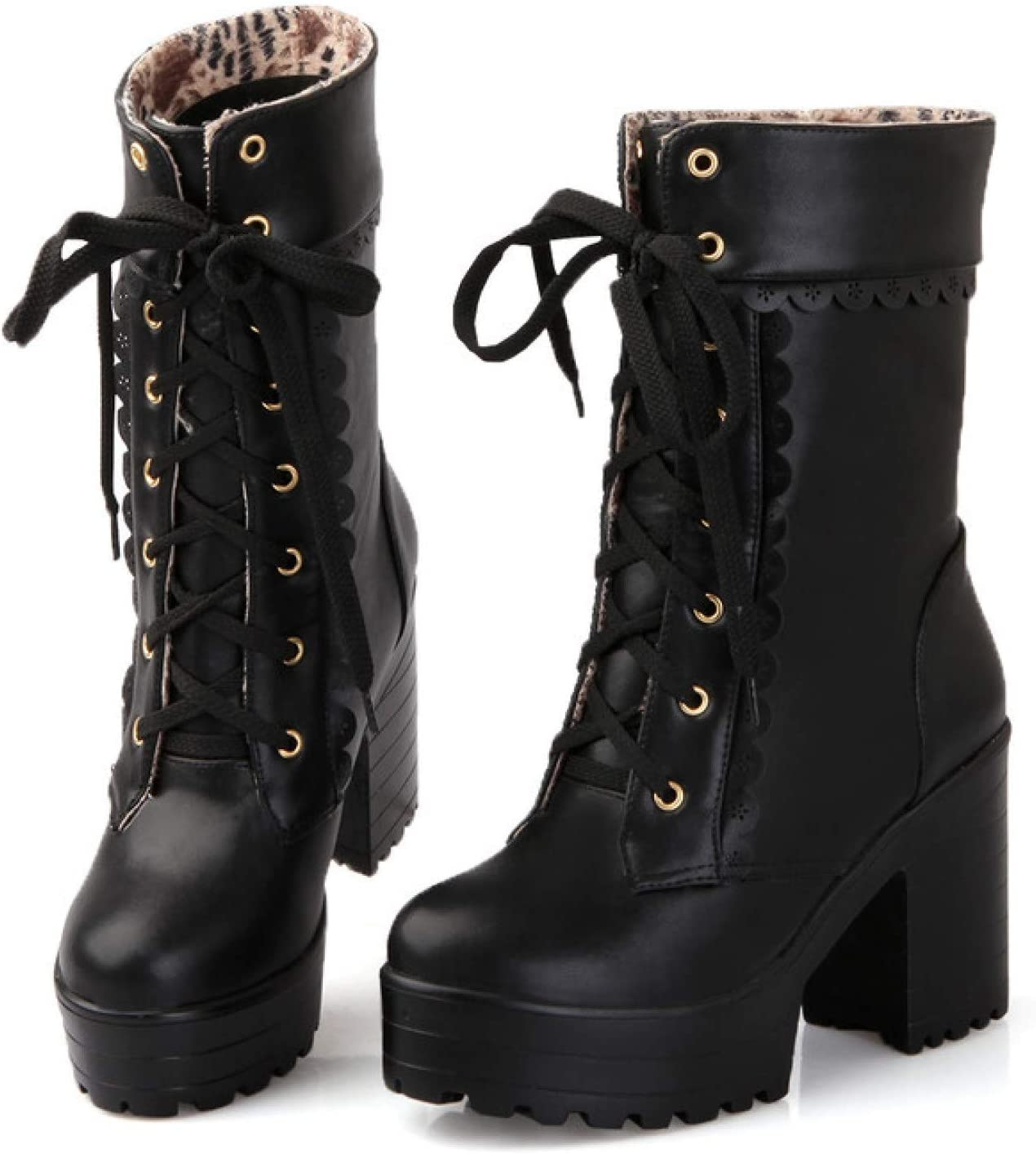 FMTZZY High Heels for Women Womens Lolita Platform Combat Boots Girls Lace Up Chunky Block High Heel Faux Leather Mid Calf Boots (Color : Black, Size : 4.5)