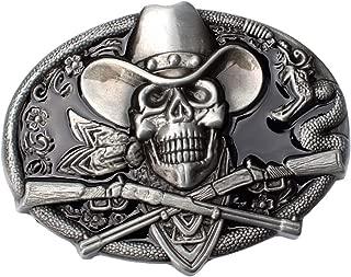 F Fityle Punk S Keleton Head Halloween Cowboy Biker Mens Belt Buckle Cosplay