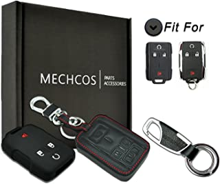Compatible with fit for M3N-32337100 Chevrolet Colorado Silverado 1500 2500 HD 3500 HD, GMC Canyon Sierra 1500 2500 HD 3500 HD Leather Keyless Entry Remote Control Key Fob Cover Case Protector Shell