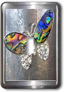 3dRose lsp_108072_1 Realistic looking silver frame and background with our glitter art butterflies Single Toggle Switch,  Multicolor