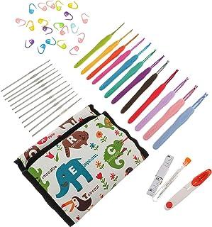 Healifty 12pcs/ set Crochet Needles Set Crochet Hooks Kit with Storage Case Ergonomic Knitting Needles Blunt Needles Stitc...