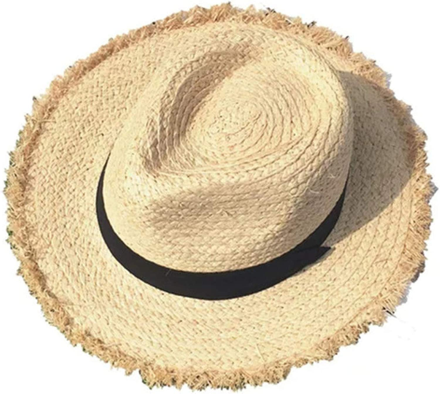 ASO-SLING Womens Straw Jazz Hat Breathable Sunshade Wide Brim Fedoras Straw Beach Hat UV Protection Cowboy Hat for Summer