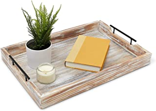 Premium Ottoman Serving Tray - Farmhouse Coffee Table Decor - Decorative Rustic Trays - Home Bed And Breakfast - Wooden Serving Platters - Large Serving Tray With Handles - Modern Centerpiece -
