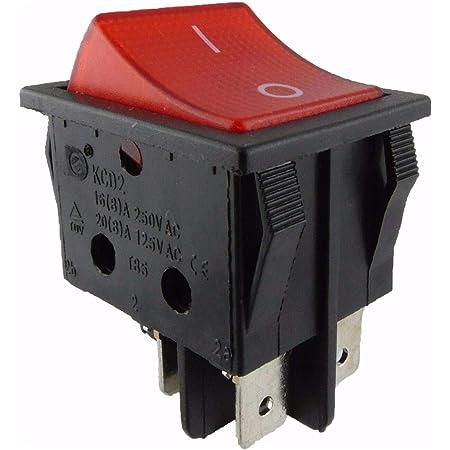 Roter Knopf Wippschalter 4 Stecker 16A 250V Elektrogeräte Schalter In Y/_I1