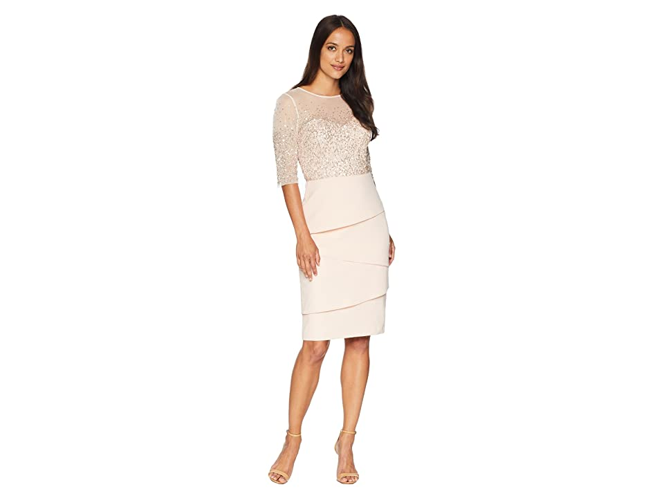 Image of Adrianna Papell 3/4 Sleeve Bead Bodice Cocktail Dress with Artichoke Crepe Skirt (Blush) Women's Dress