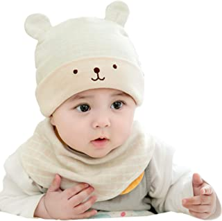 809685ba95d GZMM Unisex Newborn Baby Cotton Beanie Hat and Bib Set 0-18months