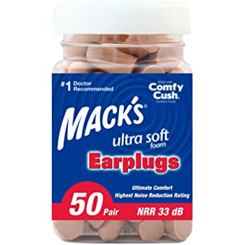 Mack's Ultra Soft Foam Earplugs, 50 Pair - 33dB Highest NRR, Comfortable Ear Plugs for Sleeping, Snoring, Travel, Concerts, Studying, Loud Noise, Work
