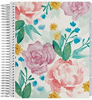 Erin Condren 18 - Month 2020-2021 Watercolor Blooms Coiled Life Planner with Layers Neutral Interior (July 2020 - December 2021) Horizontal Weekly Layout. Organizer, Calendar Tabs and Stickers