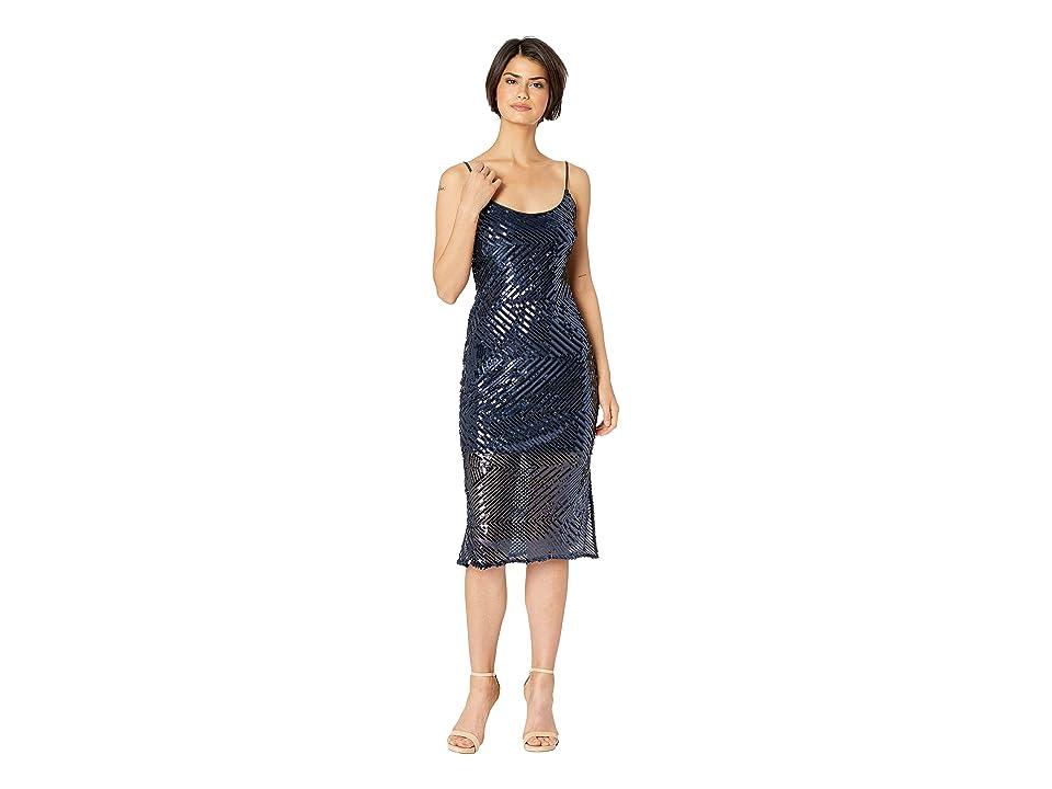 Bebe Chevron Sequin Midi Slip w/ Illusion Dress (Navy) Women