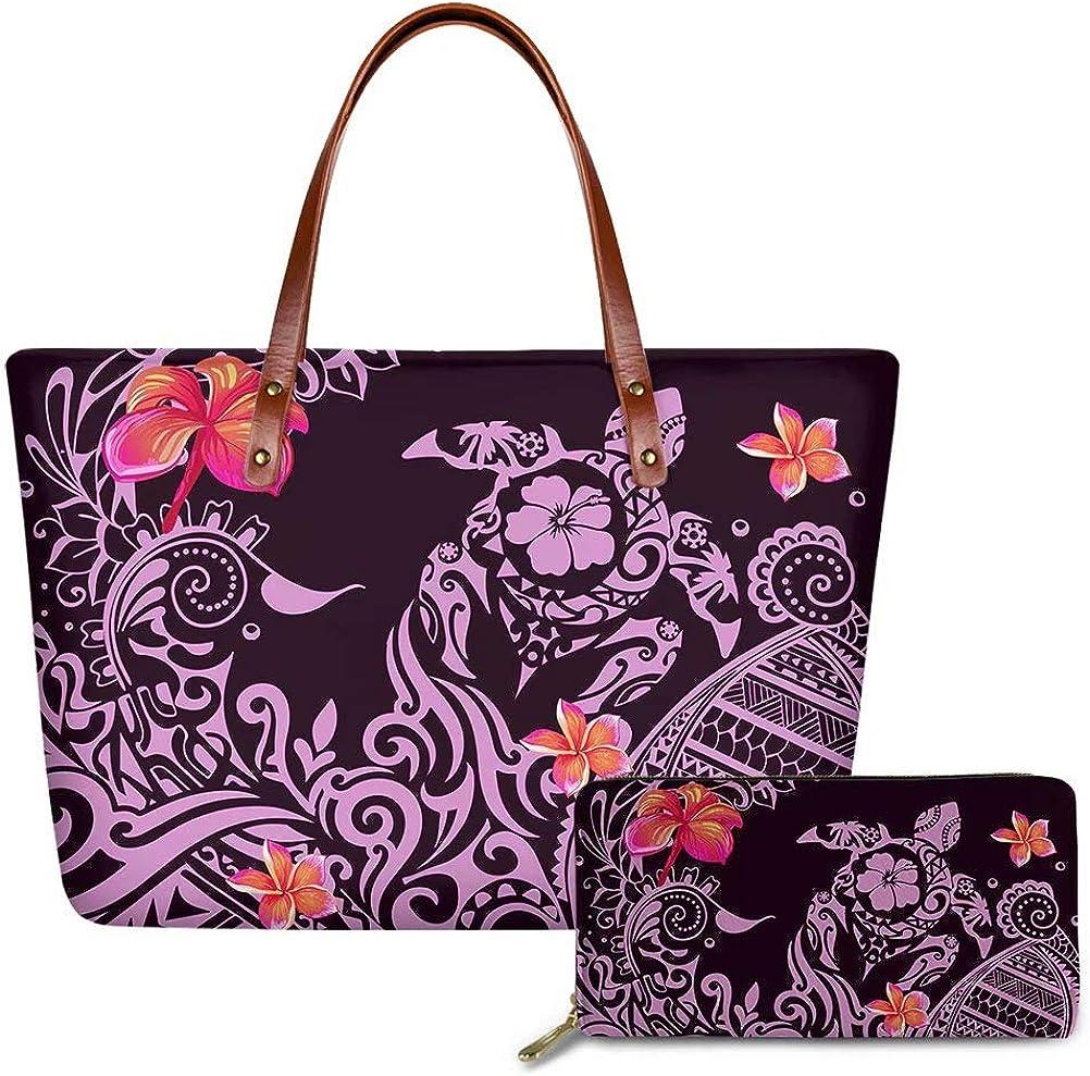 お値打ち価格で GIFTPUZZ Polynesian 定番キャンバス Handbag and Wallet Set B Womens for Shoulder
