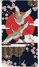 Ofat Home Japanese Noren Doorway Curtain Wide, Door Tapestry, Wall Hanging Room Decor, Red-Crowned Crane Sun Sakura, Black...