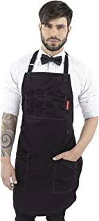 Under NY Sky Chef Apron – Professional Black Twill – Cotton Straps - Smart Pockets - Adjustable for Men and Women – Pro Chef, Cook, Kitchen, Baker, Barista, Bartender, Server Aprons