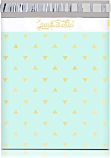 Pack It Chic - 10X13 (100 Pack) Mint Gold Triangles Poly Mailer Envelope Plastic Custom Mailing & Shipping Bags - Self Seal (More Designs Available)