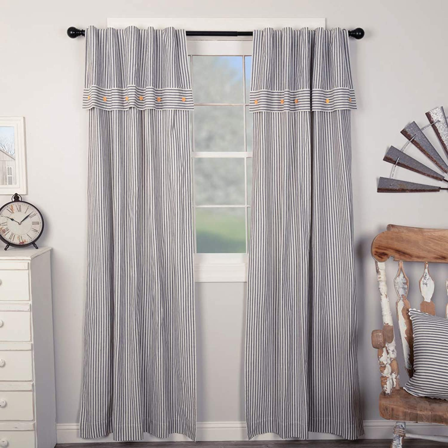 Piper Classics Farmhouse Ticking Stripe bluee Panel Curtains, Set of 2, 84  x 40 , with Attached Valance
