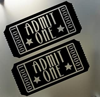 Home Theater Movie Tickets Admit One Vinyl Decal Sticker, Die Cut Vinyl Decal for Windows, Cars, Trucks, Tool Boxes, laptops, MacBook - virtually Any Hard, Smooth Surface