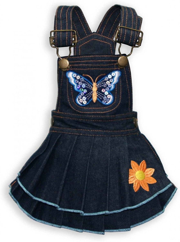 Butterfly Denim Dog Dress by Hip Doggie (X Small)