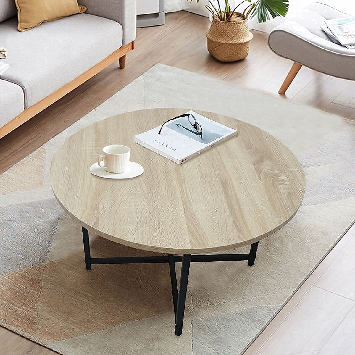 TOYSINTHEBOX Round Coffee Tables, Accent Table Sofa Table Tea Table for Living Room, Office Desk, Balcony, Wood Desktop and Metal Legs, 23.6 Inches: Kitchen & Dining