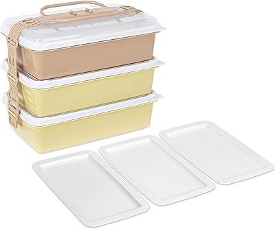 サンコープラスチック 弁当箱 ピクニックケース 取り皿3枚付き アースベージュ 116789 約幅26.5×奥行15.5×高さ22cm