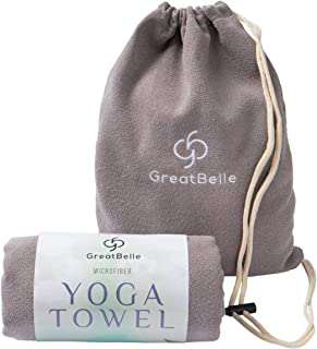 "GreatBelle Yoga Towel with Storage Pouch (72"" x 26"") - Non-Slip Super Absorbent Microfiber Mat Yoga Towel Use for Bikram and Hot Yoga Pilates Fitness Exercise and Stretching"