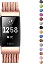Fitlink Stainless Steel Bands for Fitbit Charge 3 and Charge 3 SE for Women Men,Multi Color Multi Size