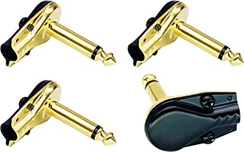 AAOTOKK 90 Degree 6.35MM Adapter Golden Plated Right Angle 6.35mm 1/4 Inch TS Mono Male Flat Pancake Style Plugs Connectors for Speaker,Patch Cable,Guitar.(4 Pack)