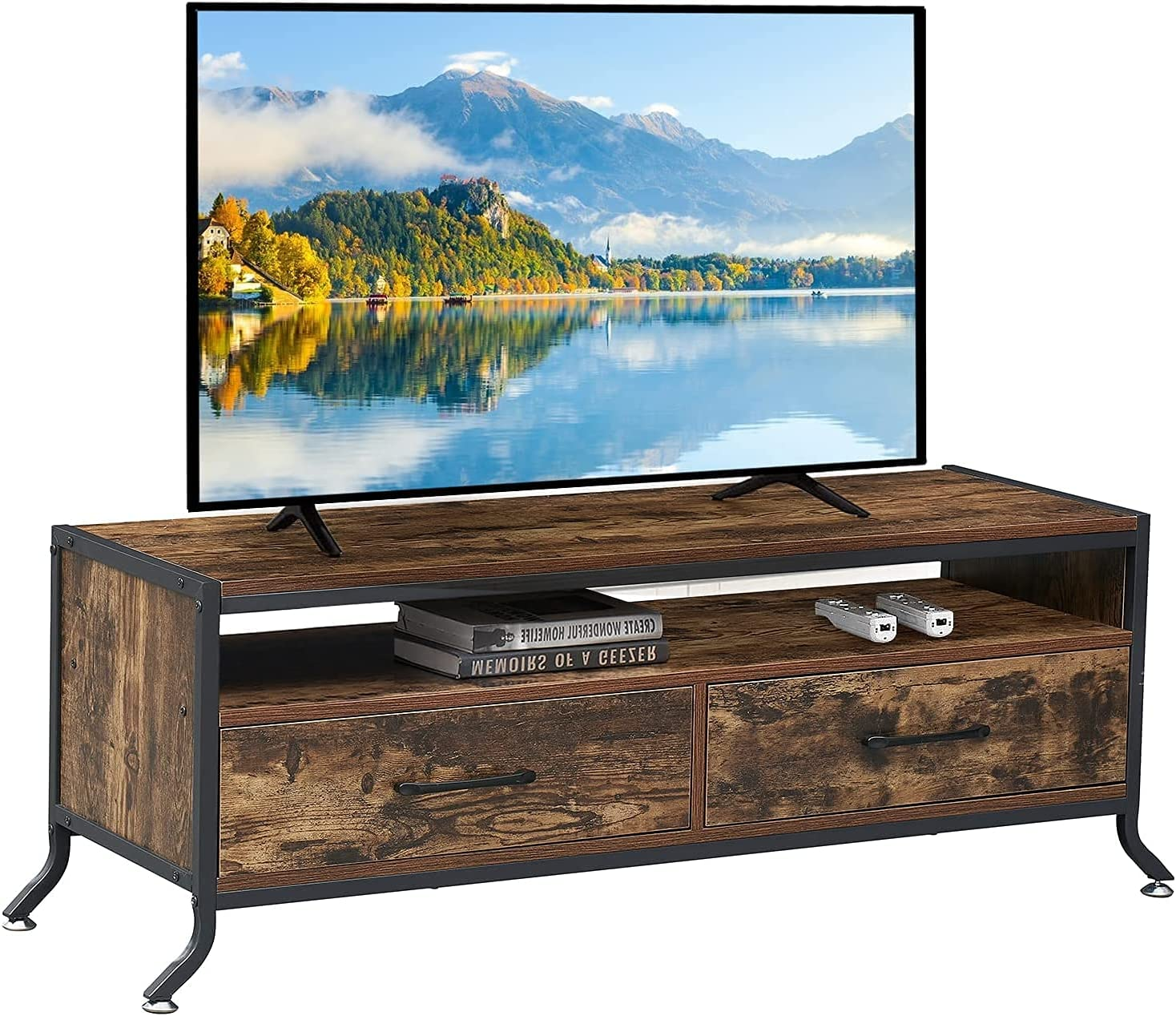 Super sale period limited VECELO Industrial TV Stand Weekly update Television Cabinet Storage with Open
