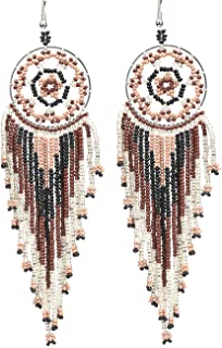 Brown beaded ear clip earrings Acrylic earrings Ginger bead earrings for her