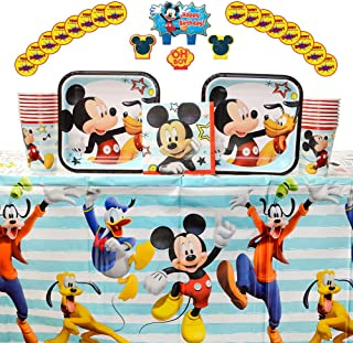 Mickey On the Go Supplies Pack for 16 Guests: Stickers, Candles, Dessert Plates, Beverage Napkins, Table Cover, and Cups