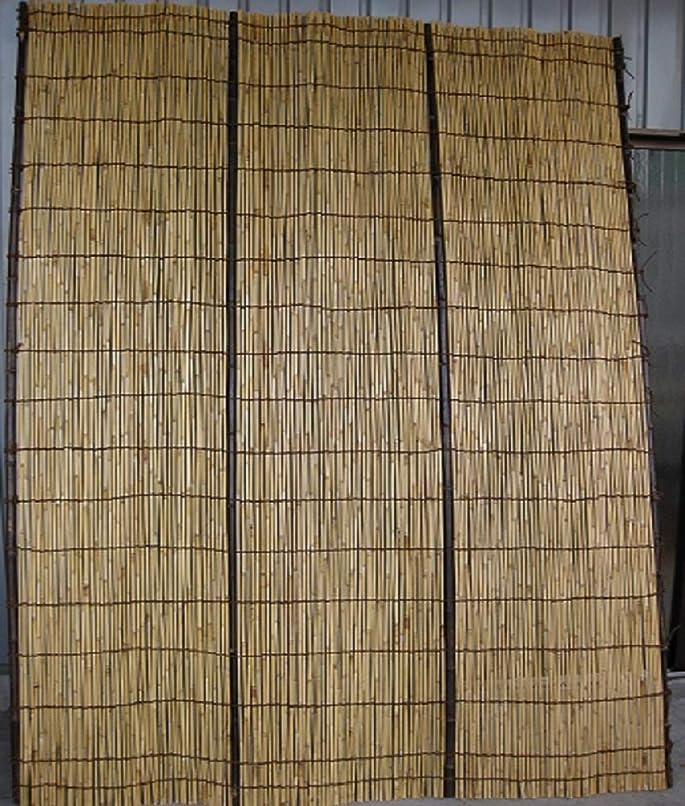 慈悲高潔な感覚特選天然よしず(棕櫚縄編み上黒竹桟)6尺 約幅180×高さ180cm