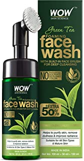 WOW Skin Science Green Tea Foaming Face Wash with Built-In Face Brush - With Green Tea & Aloe Vera Extract - For Purifying...
