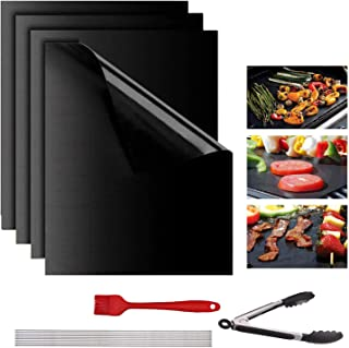 Lyeiaa 4 Pièces Tapis de Barbecue Tapis de Cuisson Grill Mat 40x33 CM, Tapis de Grill Antiadhésif BBQ Feuilles de Cuisson ...