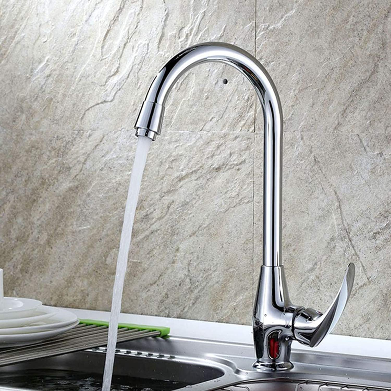 FZHLR Brass Chrome Kitchen Faucet hot and Cold Mixer taps Sheep Handle Basin Faucet Deck Mounted Sink Faucet