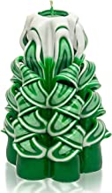 Christmas Candles - Hand Carved Candles - Decorative Candles - Tapered Candles - Green White 5 inches - Candles Christmas Tree - Hand Carved Decorative Candles - Handmade Carved Candles