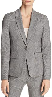 BOSS Womens Wool Plaid One-Button Suit Jacket