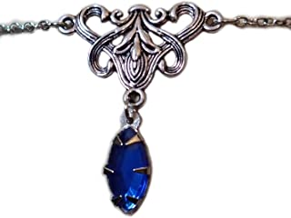 Silver Elven Lily Circlet w/Sapphire Blue Stone