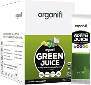 Organifi: GO Packs - Green Juice - Organic Superfood Supplement Powder - 30 Count - USDA Certified Organic Vegan Greens - Hydrates and Revitalizes - Boost Immune System - Support Relaxation and Sleep
