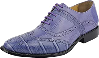 LIBERTYZENO Brogue Dress Shoes for Men Croco Print Toe Wingtip Shoes