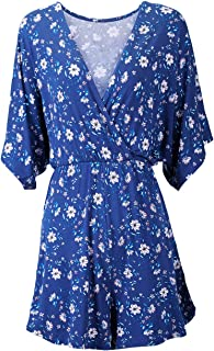 Dolcevida Women's Floral Printed Rompers V Neck Soft Flowy Short Stretchy Jumpsuits