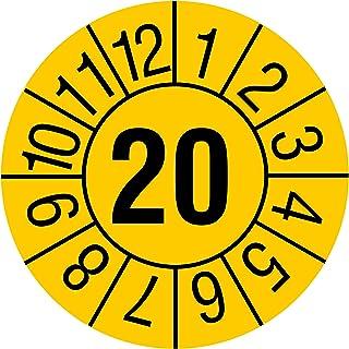 Jahrespr/üfplakette 500 St/ück Jahreszahl JJ Aufdruck schwarz Vinylfolie signalgelb /Ø 20 mm Monate Zeitraum 2022 Labelident Pr/üfplaketten