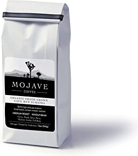 Mojave Coffee USDA Organic Shade-Grown Gayo Mtn Sumatra, Single-Origin, Small-Batch, Fresh Roasted, 100% High-Altitude Premium Arabica, Medium Roast 12oz (Whole Bean)