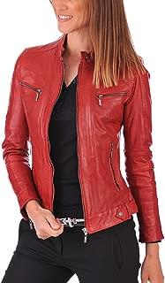 Red Scarlet Lambskin Leather Womens Jacket, Biker Jacket