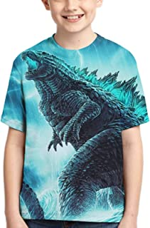 Unisex Godzilla Children's 3D Printed Polyester T-Shirt, Youth Short Sleeve Tops Tee for Boys and Girls