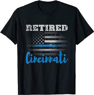 Retired Police Officer Cincinnati American Flag Design T-Shirt