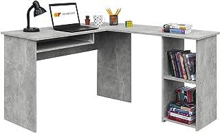 COMIFORT Escritorio Forma L - Mesa de Estudio con Estantería de Estructura Firme, Moderna y Minimalista con 2 Baldas Espaciosas y de Gran Capacidad, Color Stone